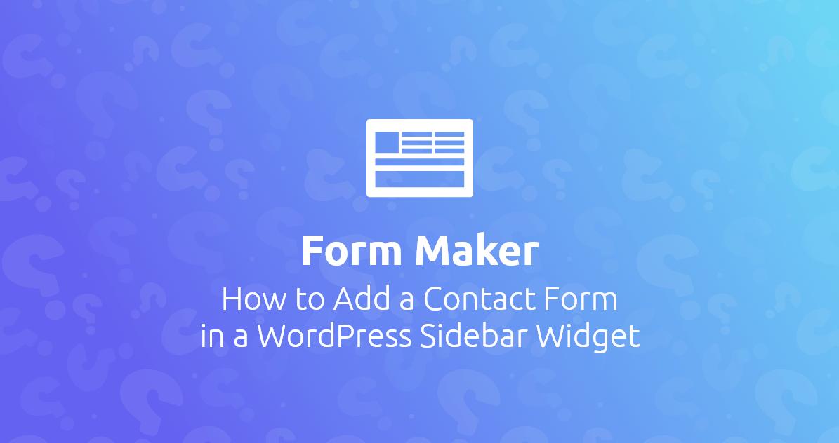 WP Form Maker banner