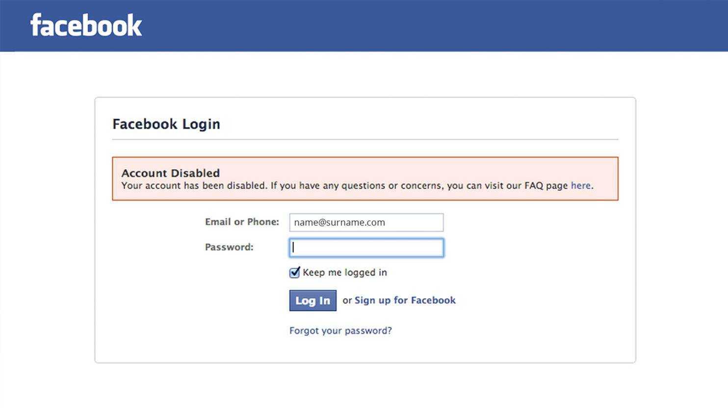 صفحه ورود به فیسبوک