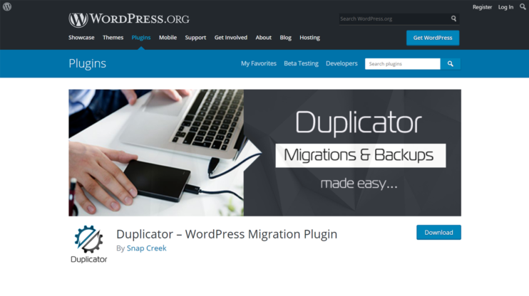 download page for duplicator plugin