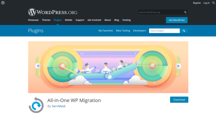 download page for all-in-one migration plugin