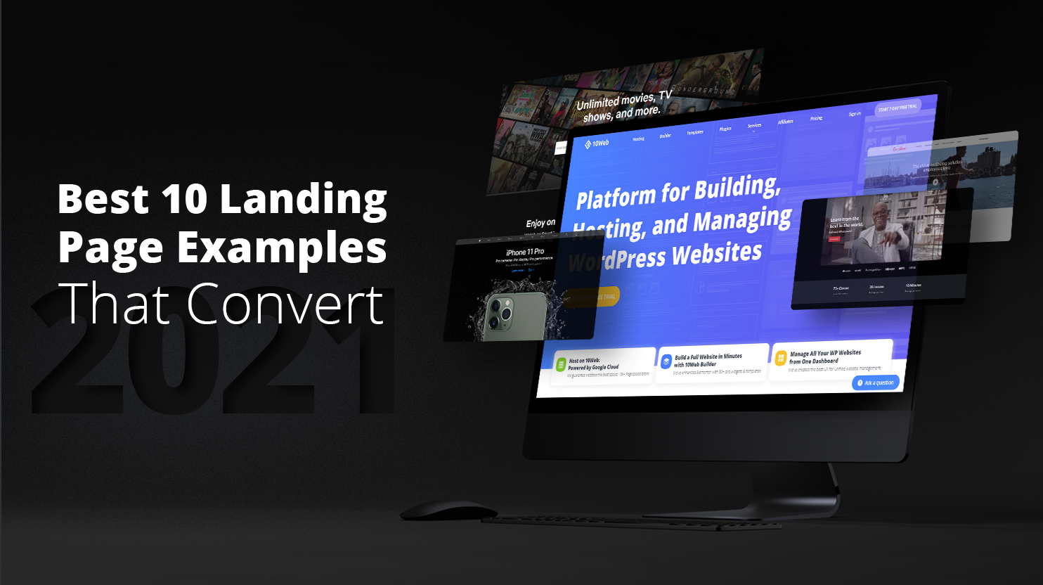 Landing pages of 10We and Iphone on computer screen