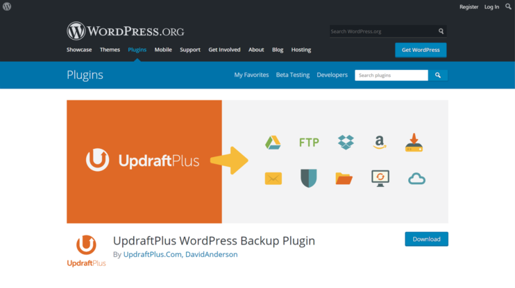 download page for updraftplus