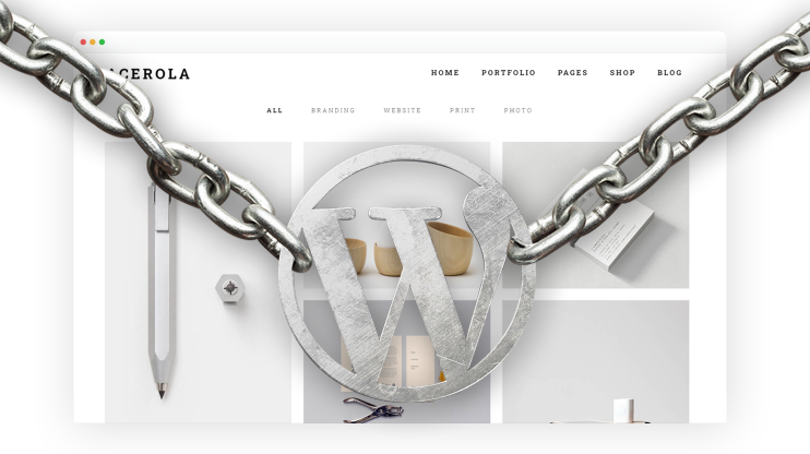 Browser with a chain on it that features the wordpress logo