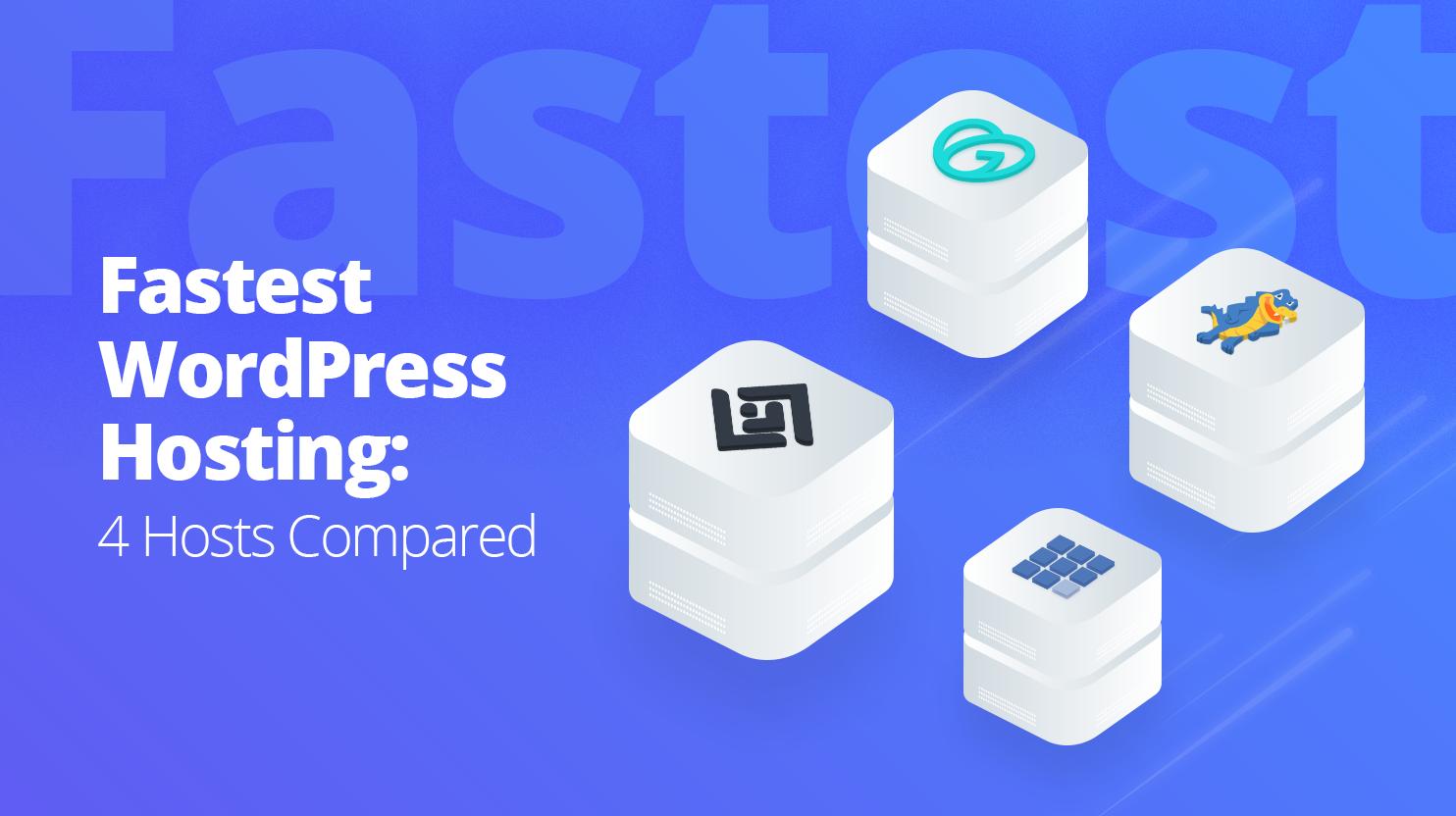 4 servers with 10web, godaddy, bluehost, hostgator logo, next to it says: fastest wordpress hosting 4 hosts compared
