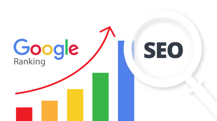 "an exponentially growing diagram that says ""Google ranking"" and ""SEO"""