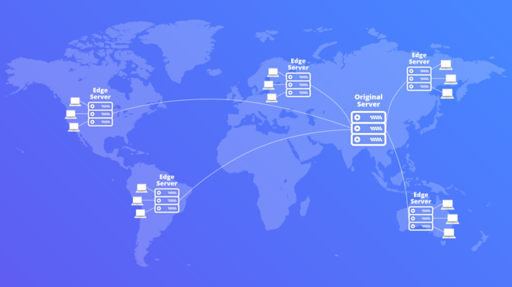world map with content delivery networks around the globe