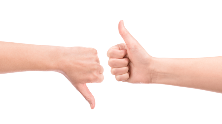 one hand with thumbs up the other with thumbs down