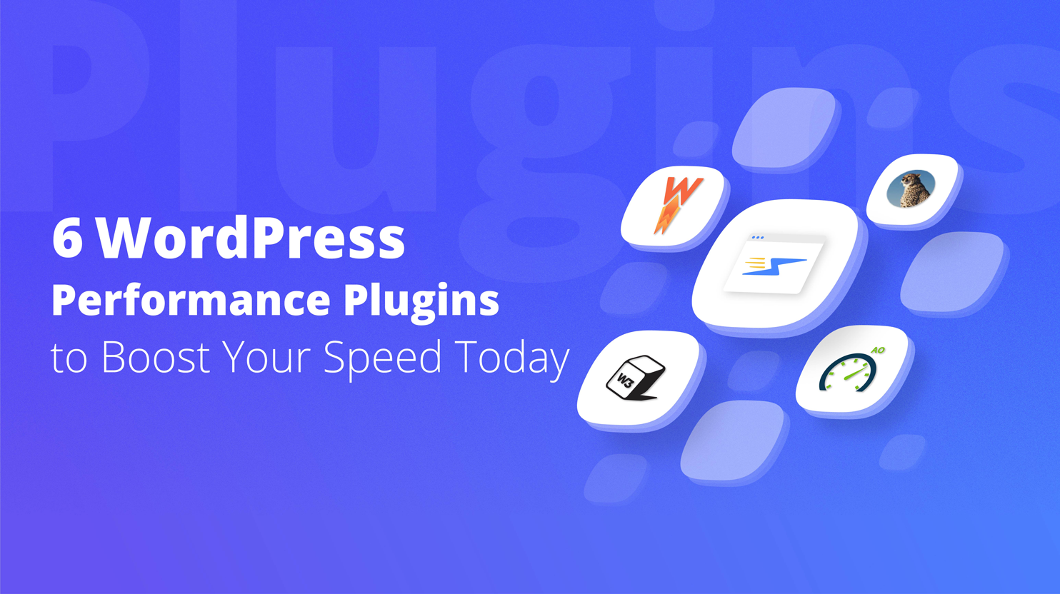 5 plugin icons displayed on a blue background