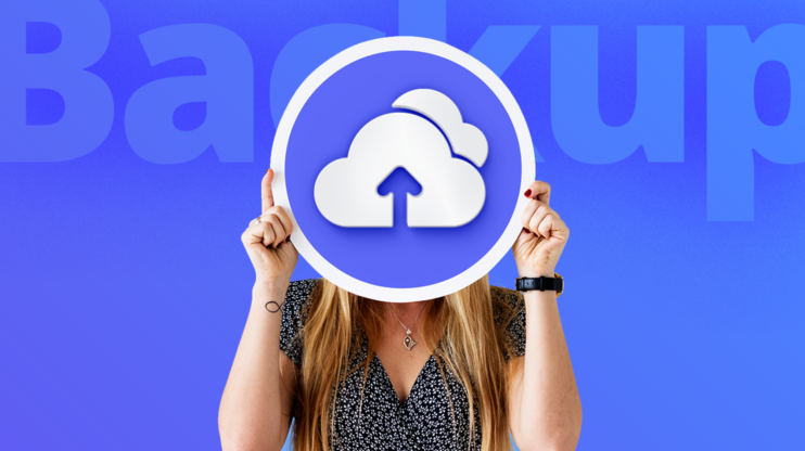 Girl holding a backup icon on blue background