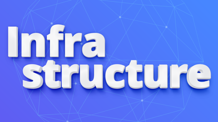 Infrastructure logo on blue background