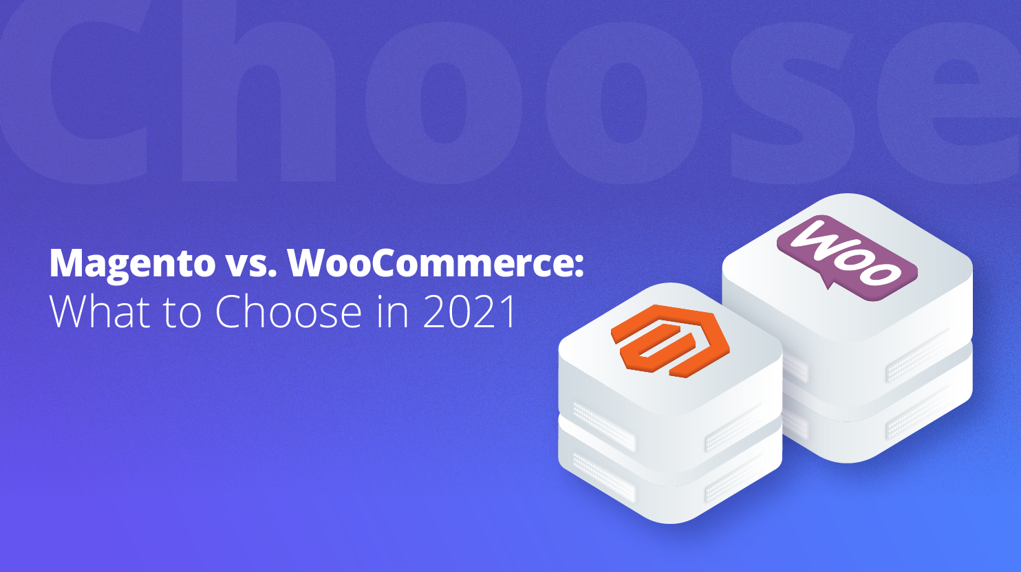 two servers, with a woocommerce and magento logo respectively