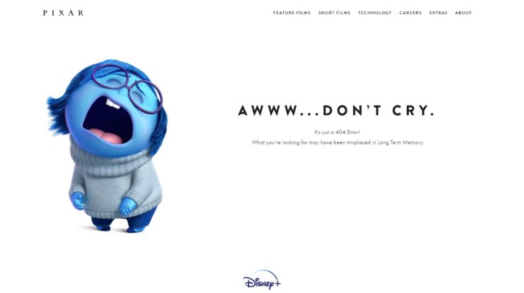 Pixar 404 page screenshot