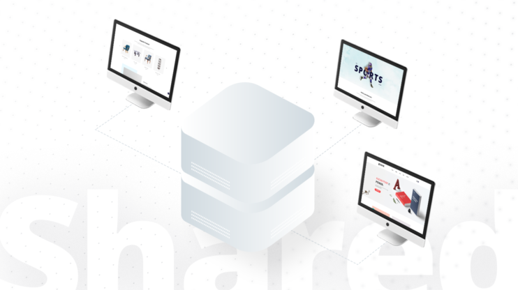 Shared hosting icon on a white background