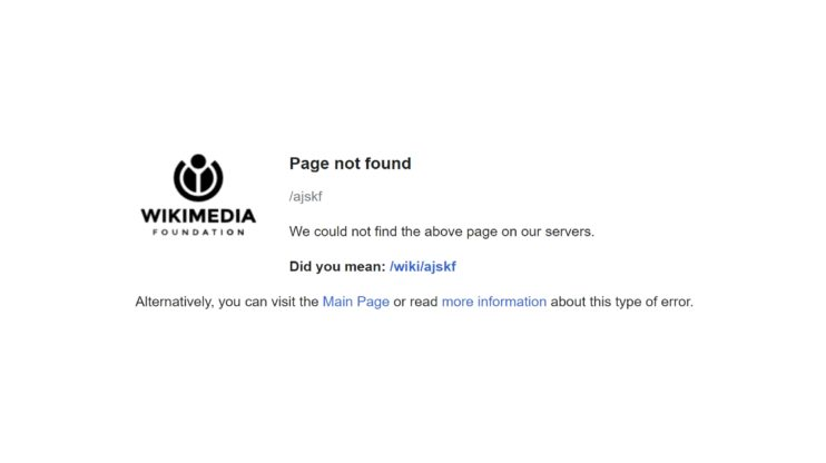 Wikipedia 404 page screenshot