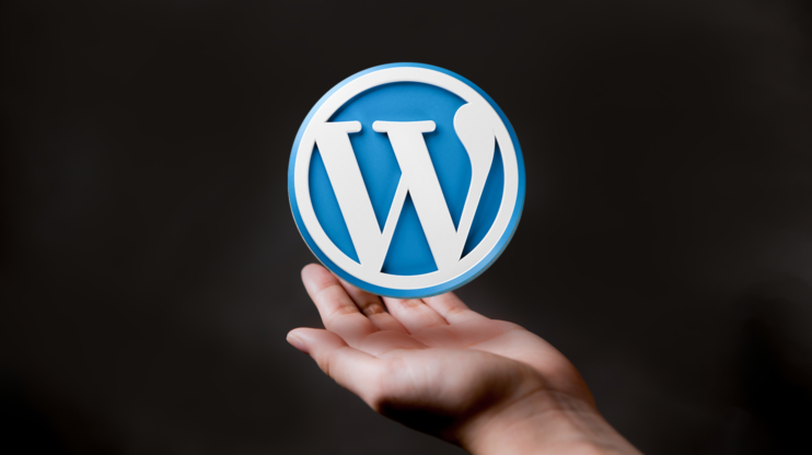 WordPress icon on top of the hand on the black background