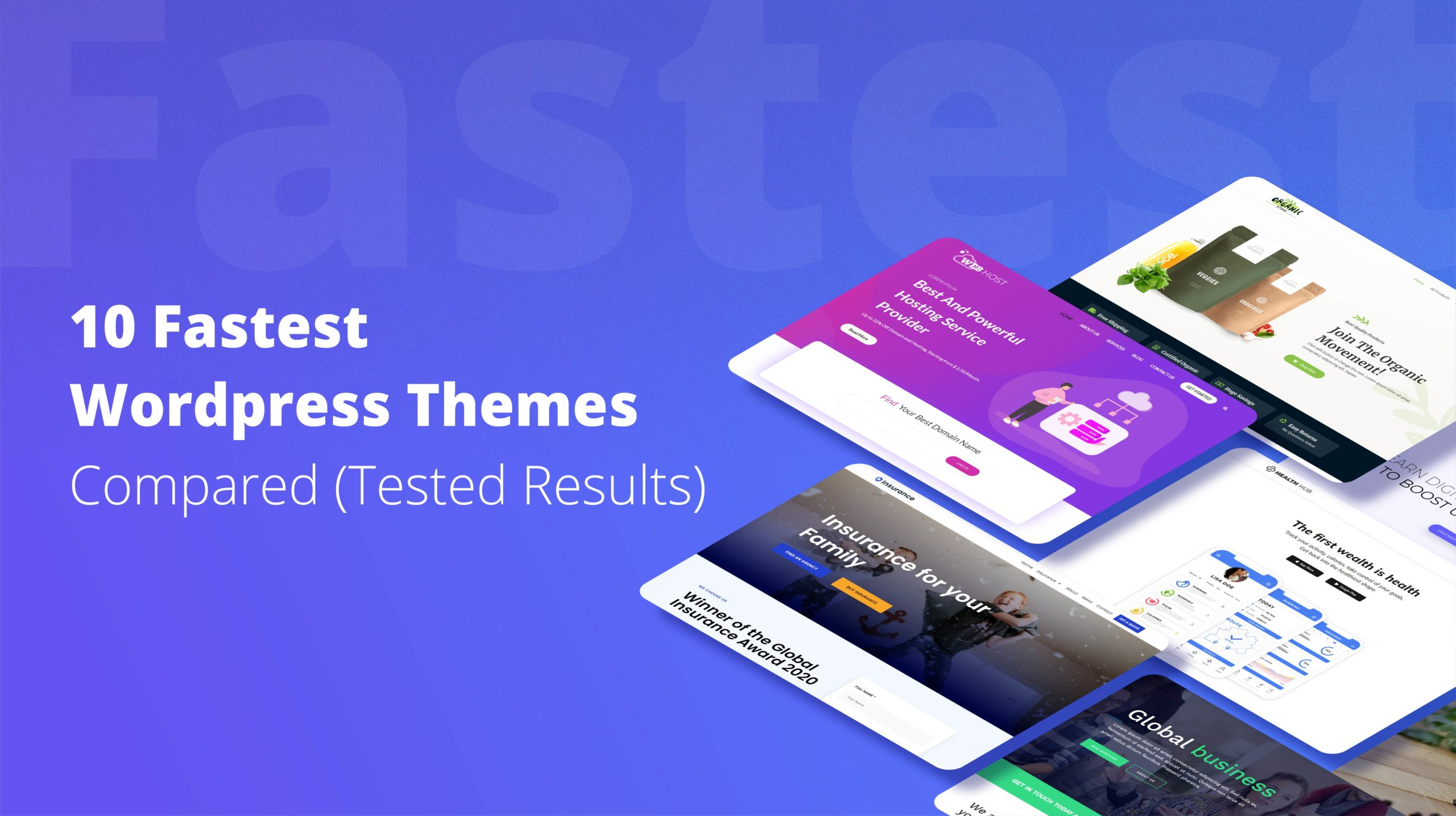 fastest themes on blue background