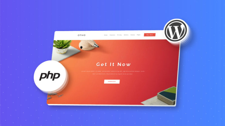 PHP and WordPress shown on the blue background
