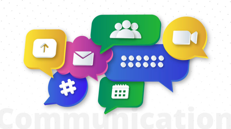 speech bubbles containing different symbols (email, calendar, etc.)
