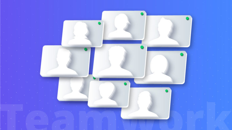 9 user icons against a blue background that says teamwork