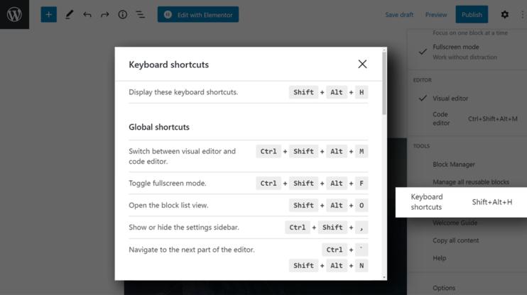 screenshot of Gutenberg shortcuts