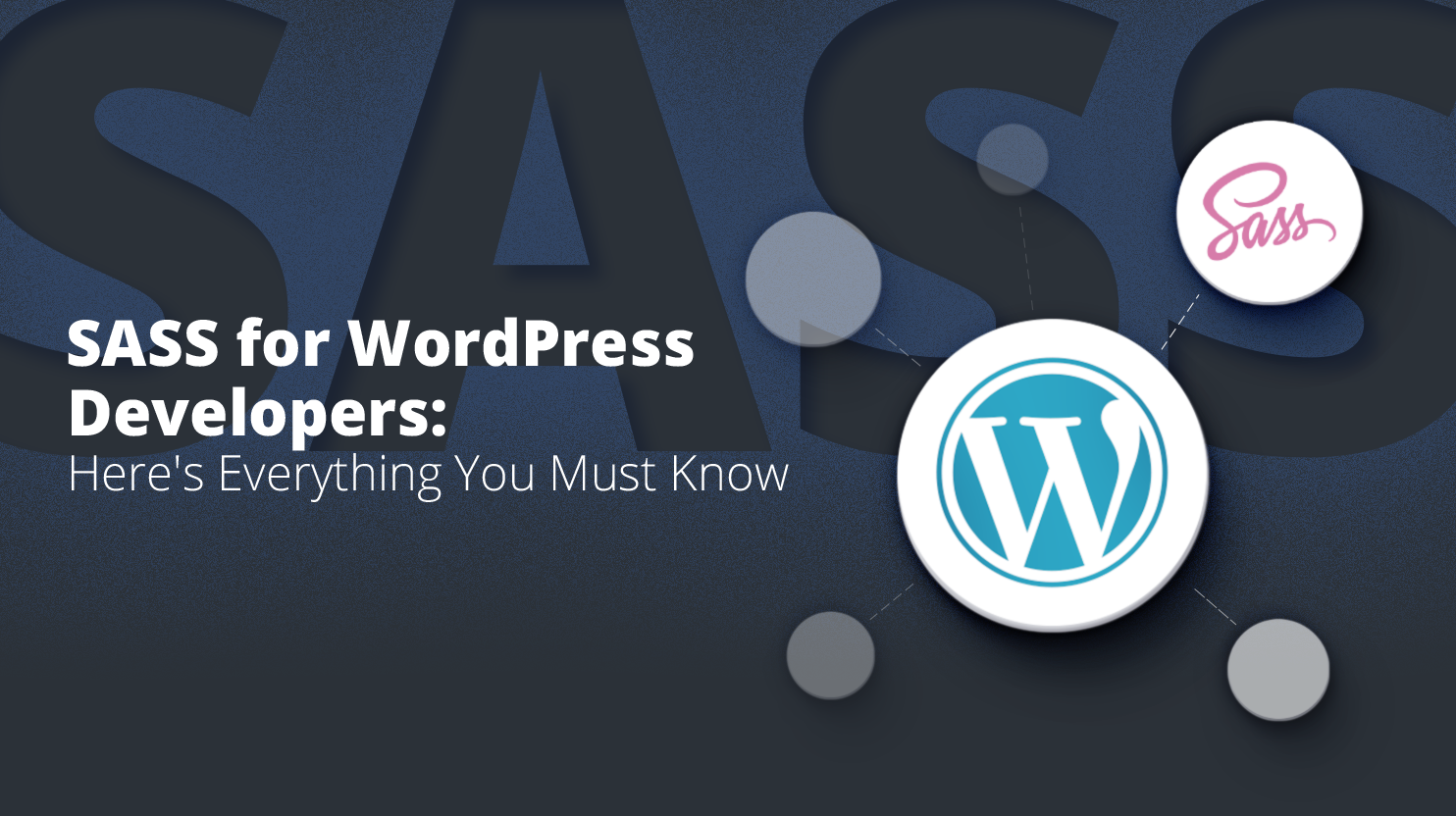 Logo of WordPress and SASS on a black background