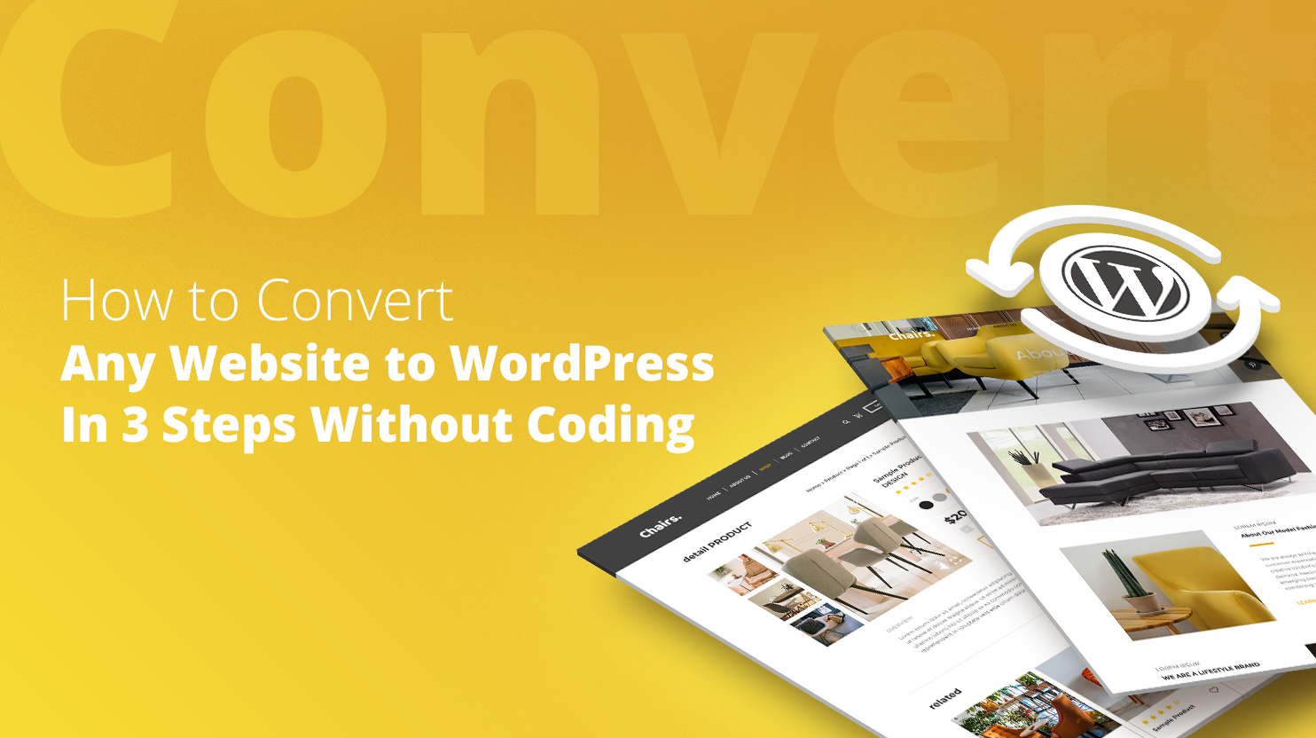 WordPress pages and WP logo on a yellow background