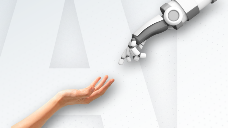 human hand reaching out for a robot hand
