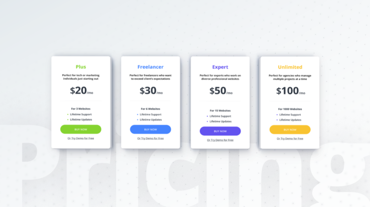 the pricing for the ai website builder