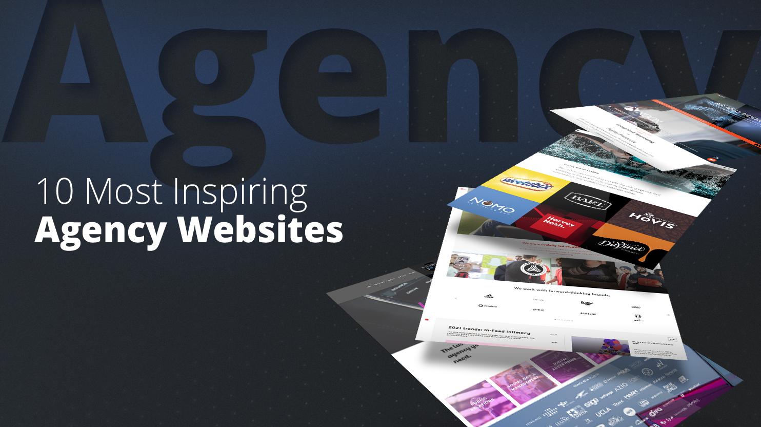 websites on a blue background