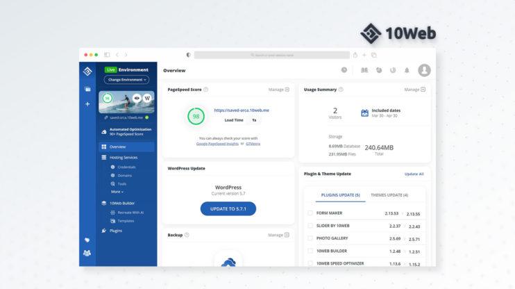 10Web's dashboard