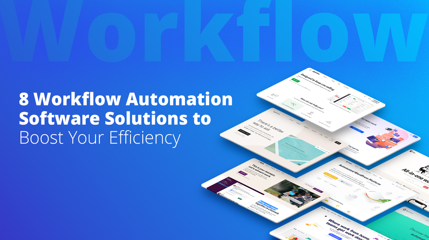 Hompages of different Workflow Automation Software providers