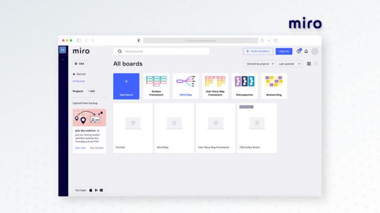 Miro's dashboard