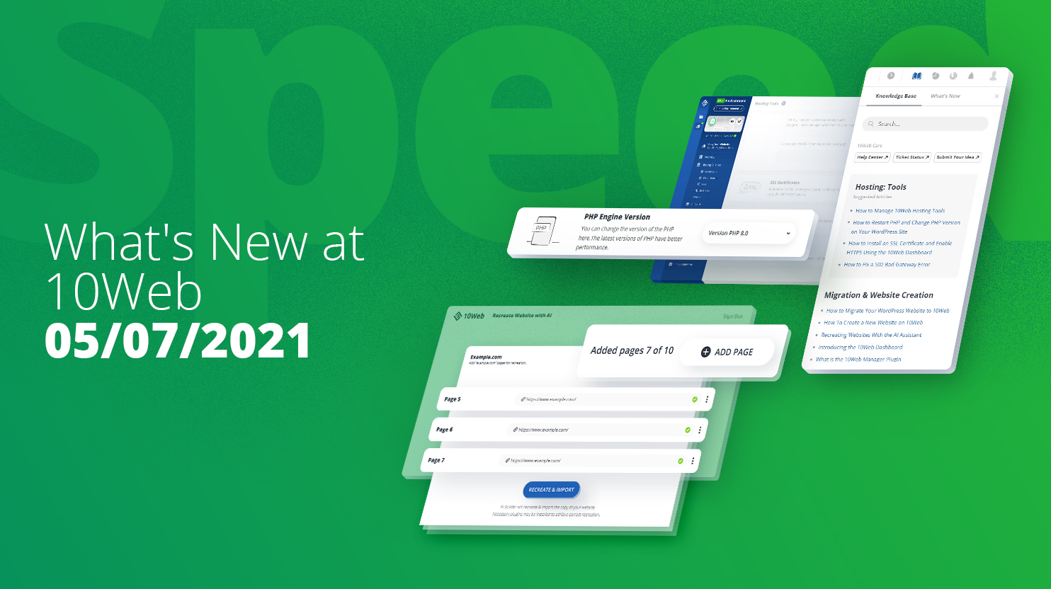 10Web dashboard images on green background. AI recreate and dashboard knowledge base