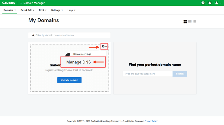 Go to manage DNS GoDaddy